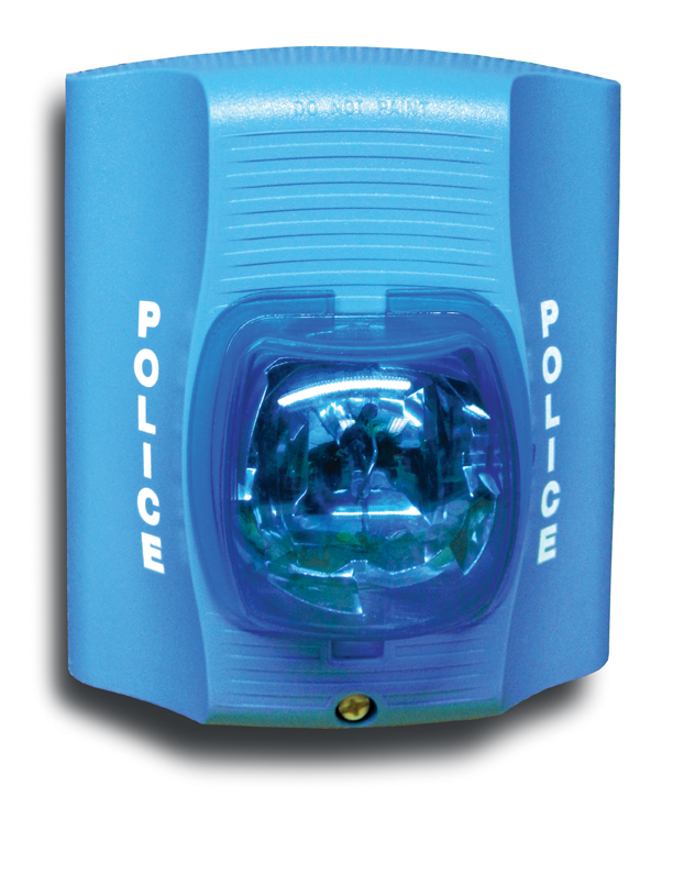 Flashing blue light emergency notification system