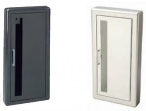 Academy Series Fire Extinguisher Cabinet with Aluminum Trim and Door - shown in Bronze and white