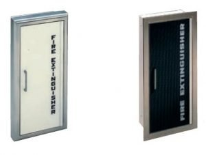 Panorama Series Fire Extinguisher Cabinet with Frameless Acrylic Door – shown with black or white lettering