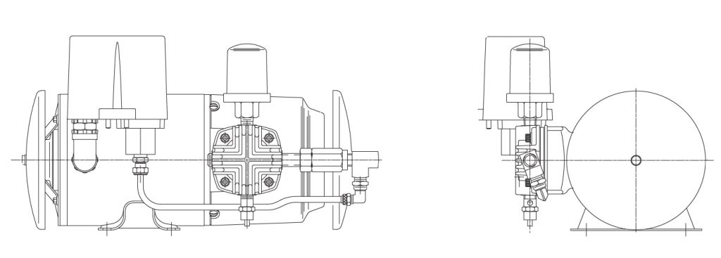 GAST Oilless Piston Air Compressor Single Cylinder Diagram