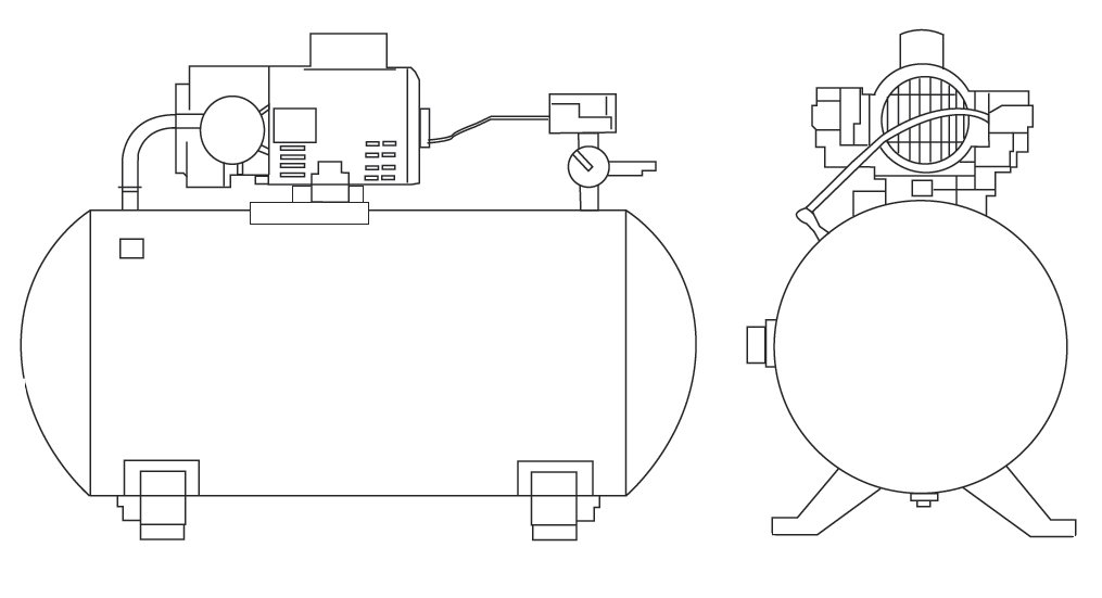 GAST Oilless Piston Air Compressor Tank Unit Diagram