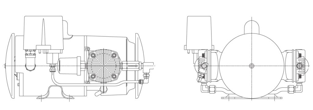 GAST Oilless Piston Air Compressor Twin Cylinder Diagram