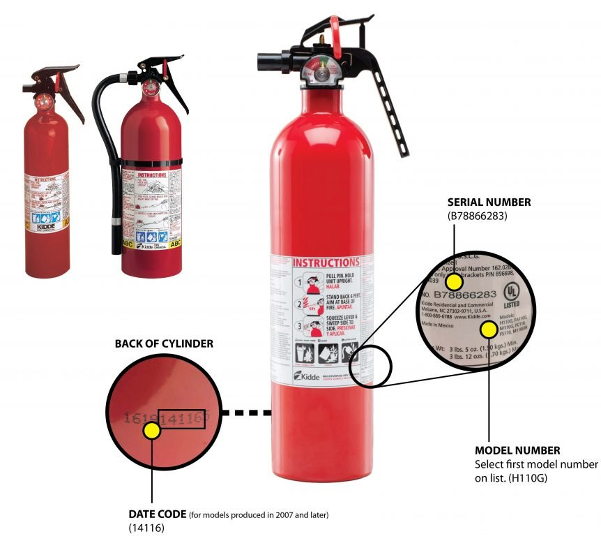 Kidde Fire Extinguisher with plastic handle - Recall