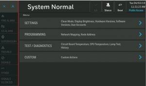 NOTIFIER INSPIRE HD Touchscreen Display Menu