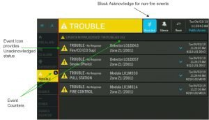 NOTIFIER INSPIRE HD Touchscreen Display Active Events