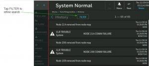 NOTIFIER INSPIRE HD Touchscreen Display History