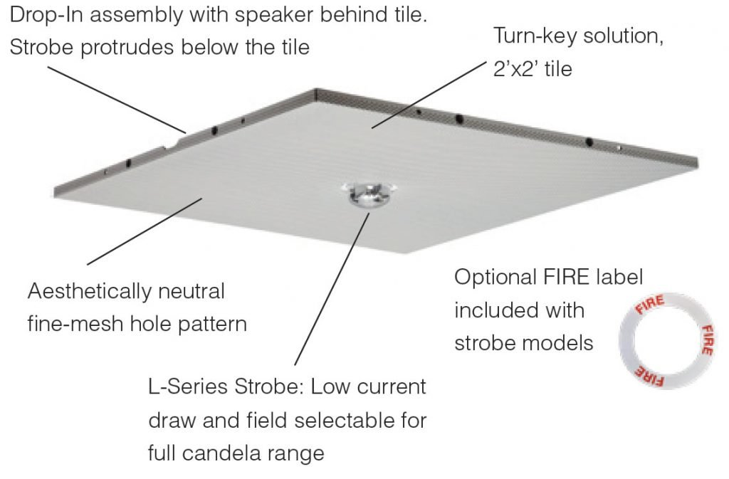System Sensor L-Series Drop-In Ceiling Speaker Strobes Front View Features